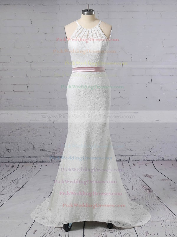 Lace Scoop Neck Sweep Train Trumpet/Mermaid Sashes / Ribbons Wedding Dresses #PWD00023457