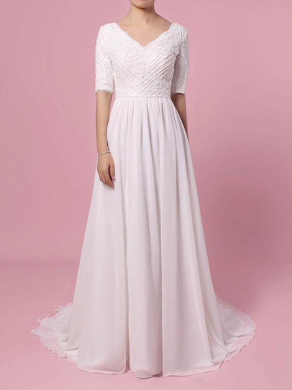 Lace Chiffon V-neck Sweep Train A-line Beading Wedding Dresses #PWD00023463