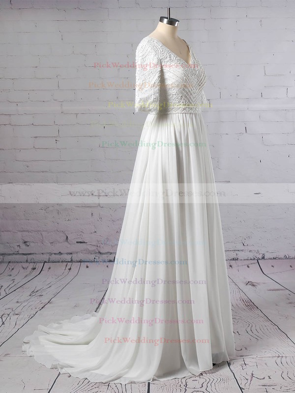 Lace Chiffon V-neck Sweep Train A-line Beading Wedding Dresses #PWD00023463