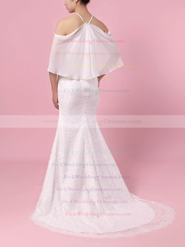 Lace Chiffon Off-the-shoulder Sweep Train Trumpet/Mermaid Wedding Dresses #PWD00023466