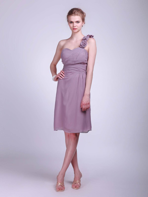A-line Knee-length Chiffon Flower(s) One Shoulder Bridesmaid Dresses #PWD01012023