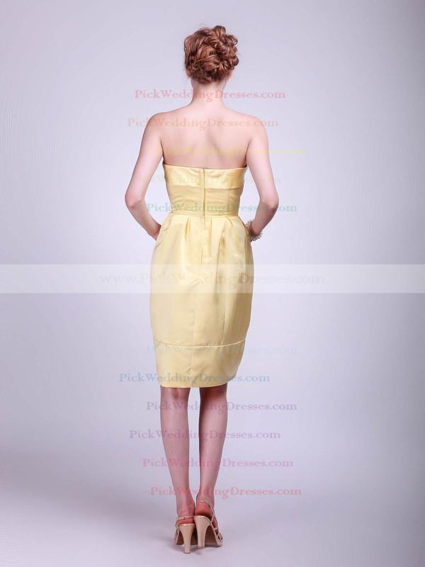 A-line Knee-length Satin Pockets Strapless Bridesmaid Dresses #PWD01012024
