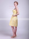 A-line Knee-length Satin Pockets Strapless Bridesmaid Dresses #PWD01012024