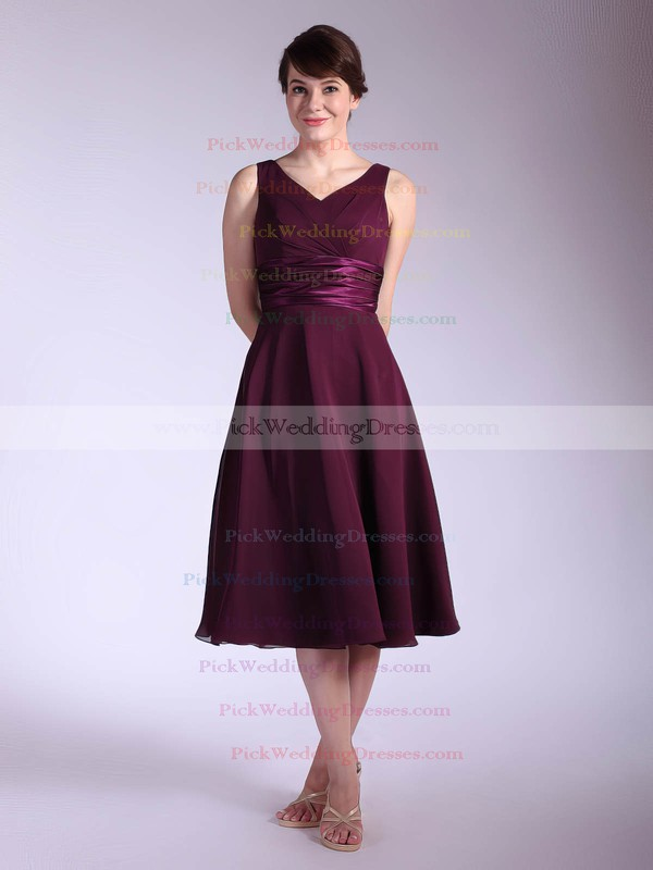 Empire Tea-length Chiffon Sashes/Ribbons V-neck Bridesmaid Dresses #PWD01012030