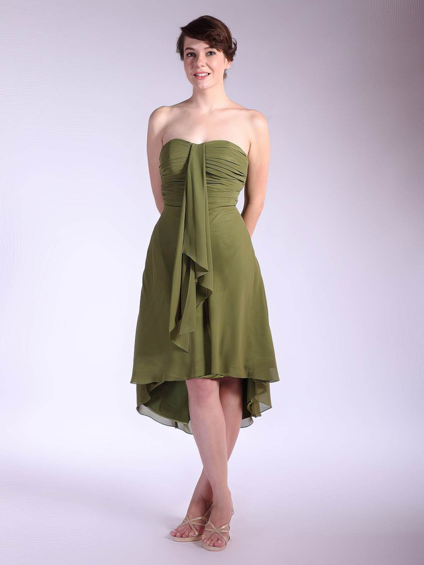 A-line Asymmetrical Chiffon Pleats Strapless Bridesmaid Dresses #PWD01012031