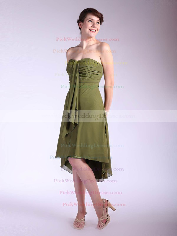 A-line Asymmetrical Chiffon Pleats Strapless Bridesmaid Dresses #PWD01012031