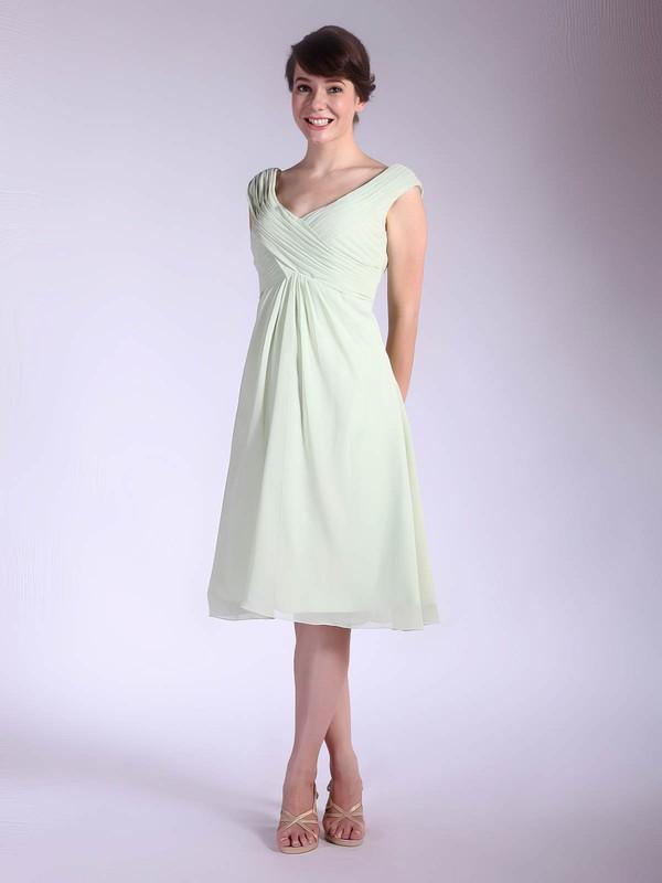A-line Tea-length Chiffon Pleats V-neck Bridesmaid Dresses #PWD01012032