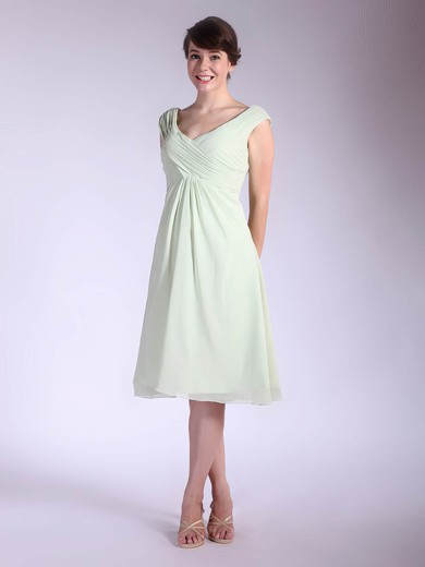 A-line Tea-length Chiffon Pleats V-neck Bridesmaid Dresses #PWD01012032