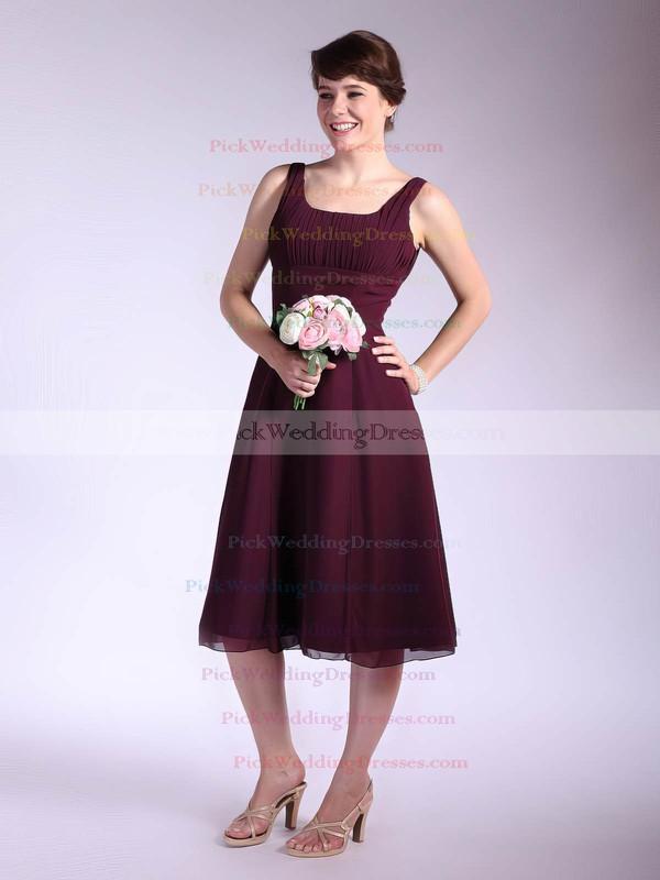A-line Tea-length Chiffon Ruffles Square Bridesmaid Dresses #PWD01012033