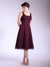 A-line Tea-length Chiffon Ruffles Square Bridesmaid Dresses #PWD01012033