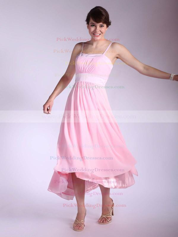 A-line Asymmetrical Chiffon Pleats Square Bridesmaid Dresses #PWD01012034