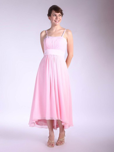 A-line Asymmetrical Chiffon Pleats Square Bridesmaid Dresses #PWD01012034