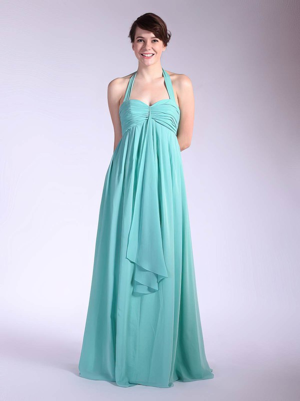 Empire Floor-length Chiffon Pleats Halter Bridesmaid Dresses #PWD01012035