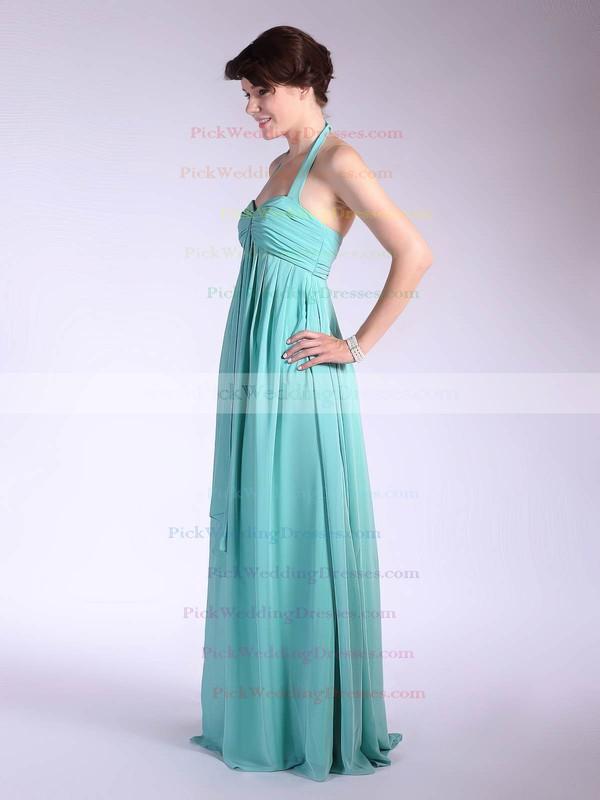 Empire Floor-length Chiffon Pleats Halter Bridesmaid Dresses #PWD01012035