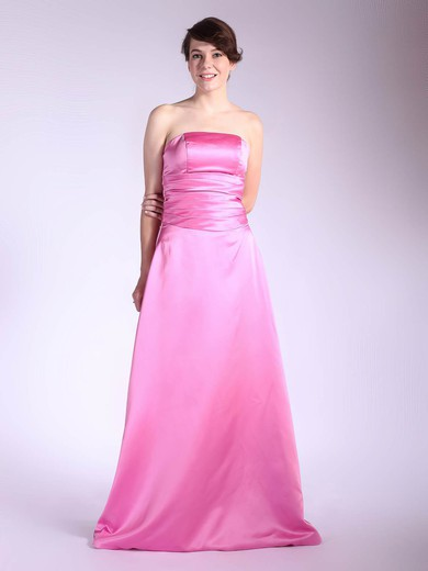 A-line Floor-length Satin Pleats Strapless Bridesmaid Dresses #PWD01012036