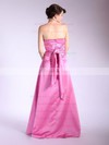 A-line Floor-length Satin Pleats Strapless Bridesmaid Dresses #PWD01012036