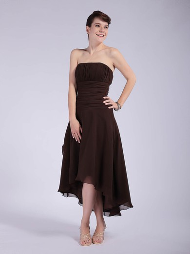 A-line Asymmetrical Chiffon Pleats Strapless Bridesmaid Dresses #PWD01012039