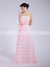 A-line Floor-length Chiffon Sashes/Ribbons Strapless Bridesmaid Dresses #PWD01012040
