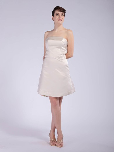 A-line Short/Mini Satin Draped Strapless Bridesmaid Dresses #PWD01012042