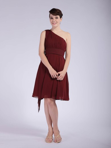 A-line Knee-length Chiffon Pleats One Shoulder Bridesmaid Dresses #PWD01012043