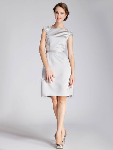 A-line Knee-length Satin Beading Bateau Bridesmaid Dresses #PWD02013672