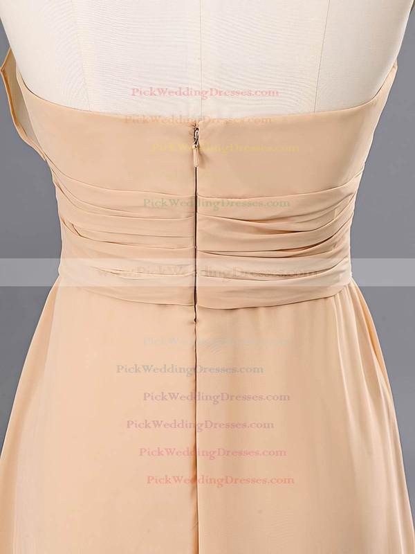 Elegant Champagne Chiffon Floor-length Ruffles Halter Bridesmaid Dresses #PWD02020059