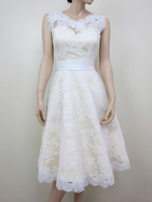 Scoop Neck Tea-length Stunning Lace with Sashes / Ribbons Wedding Dresses #PWD00020464