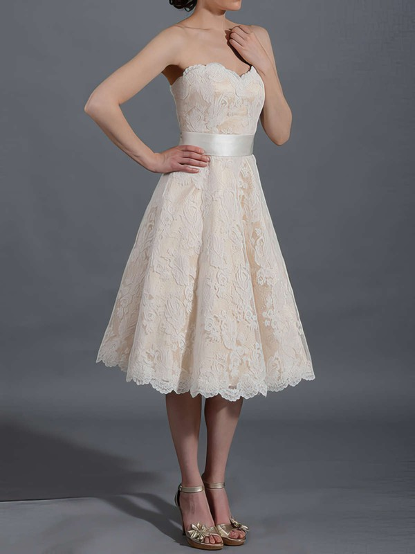 Pretty Champagne Lace Sweetheart Sashes/Ribbons Tea-length Wedding Dresses #PWD00020467