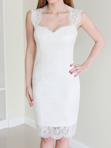 Hot White Lace Sheath/Column with Buttons Knee-length Wedding Dress #PWD00020468