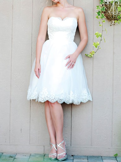 Sweet White Lace-up Sweetheart Organza Lace Appliques Knee-length Wedding Dress #PWD00020476