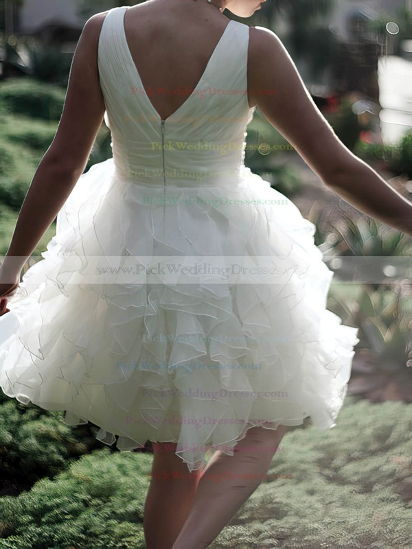 Elegant White Organza V-neck Ruffles Ball Gown Knee-length Wedding Dresses #PWD00020477