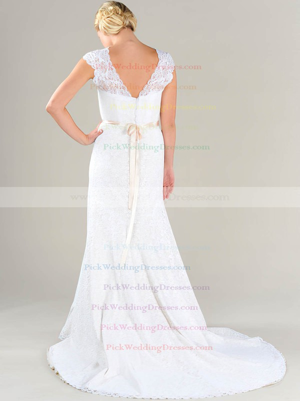 Scalloped Neck White Lace with Sashes/Ribbons Vintage Sheath/Column Wedding Dresses #PWD00020479