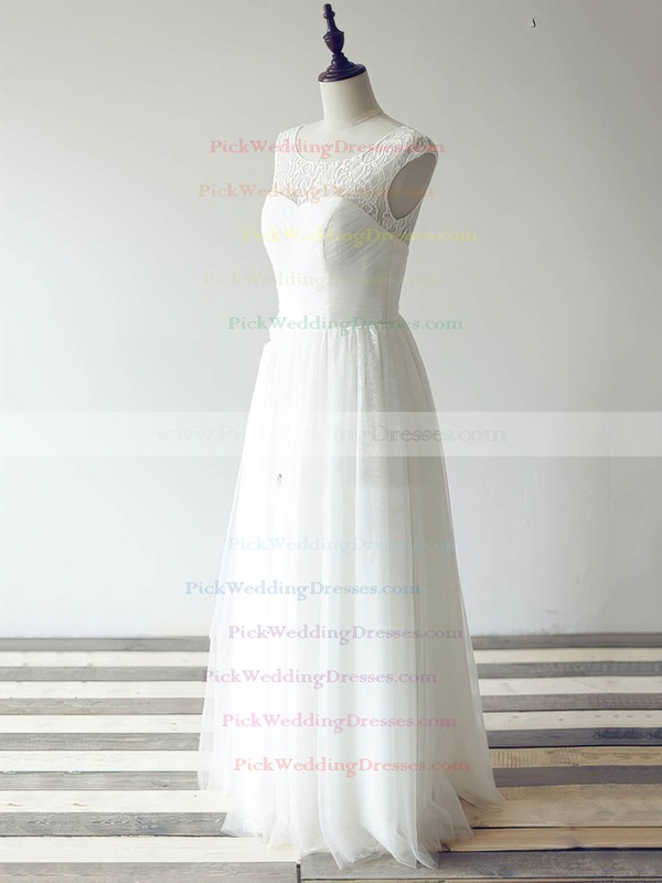 New Tulle Lace Scoop Neck Ruffles Cap Straps Floor-length White Wedding Dress #PWD00020480