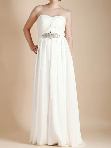 Cute Ivory Chiffon Sweetheart Criss Cross Empire Wedding Dresses #PWD00020481