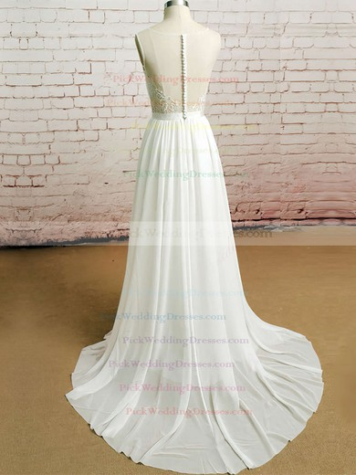 Ivory Chiffon Tulle Appliques Lace Beautiful Scoop Neck Buttons Wedding Dresses #PWD00020482