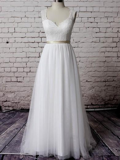 V-neck White Tulle Lace Sashes/Ribbons Court Train Elegant Wedding Dress #PWD00020483