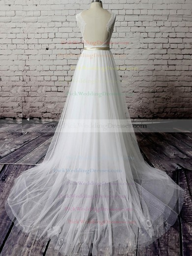 V-neck White Tulle Lace Sashes/Ribbons Court Train Elegant Wedding Dress #PWD00020483