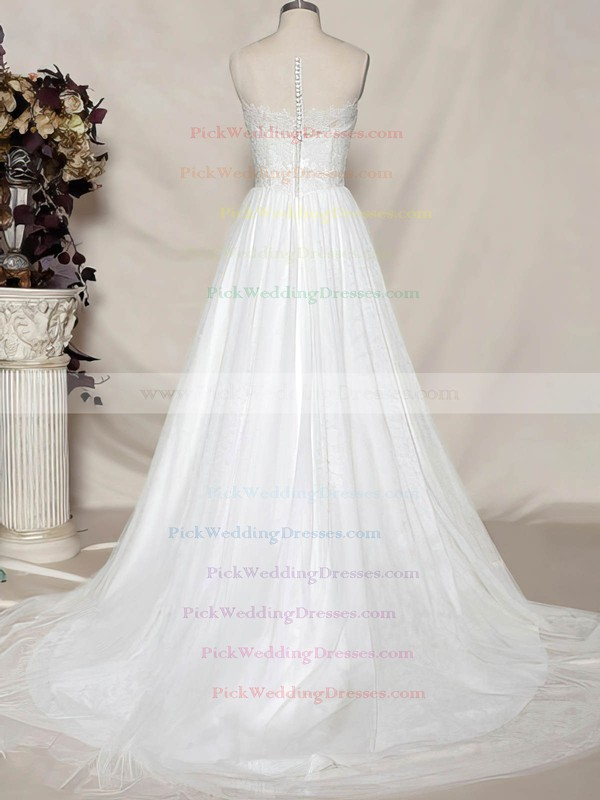 Sweetheart White Tulle Appliques Lace Covered Button Sweep Train Wedding Dress #PWD00020484
