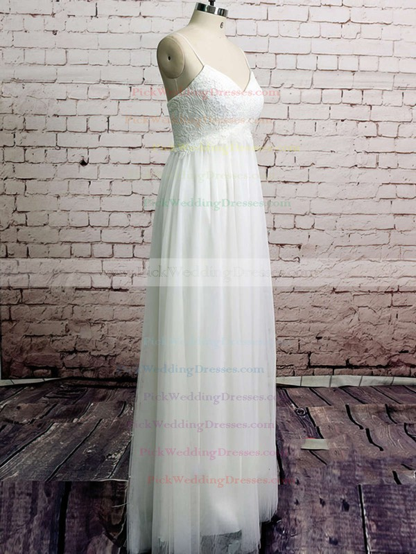 Empire V-neck White Tulle Appliques Lace Spaghetti Straps Wedding Dresses #PWD00020485