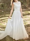 Scoop Neck White Chiffon and Court Train Lace Online Wedding Dresses #PWD00020486