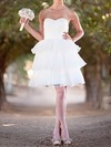 Sweet Short/Mini White Tiered Organza with Lace-up Ball Gown Wedding Dresses #PWD00020492