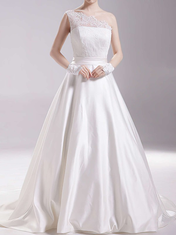 Amazing White Satin One Shoulder Lace Covered Button Ball Gown Wedding Dress