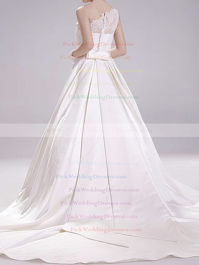 Amazing White Satin One Shoulder Lace Covered Button Ball Gown Wedding Dress #PWD00020493