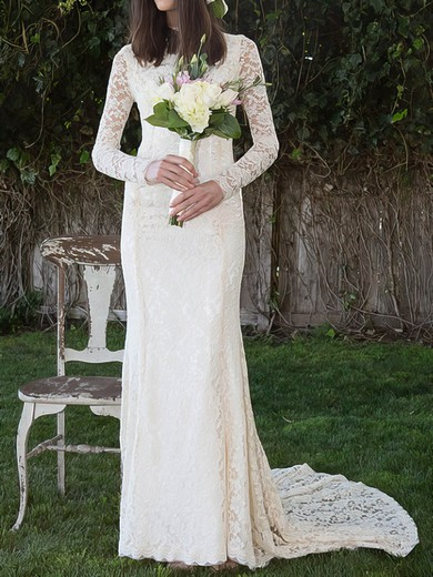 Vintage Lace High Neck Ivory Sheath/Column Long Sleeve Wedding Dress #PWD00020495