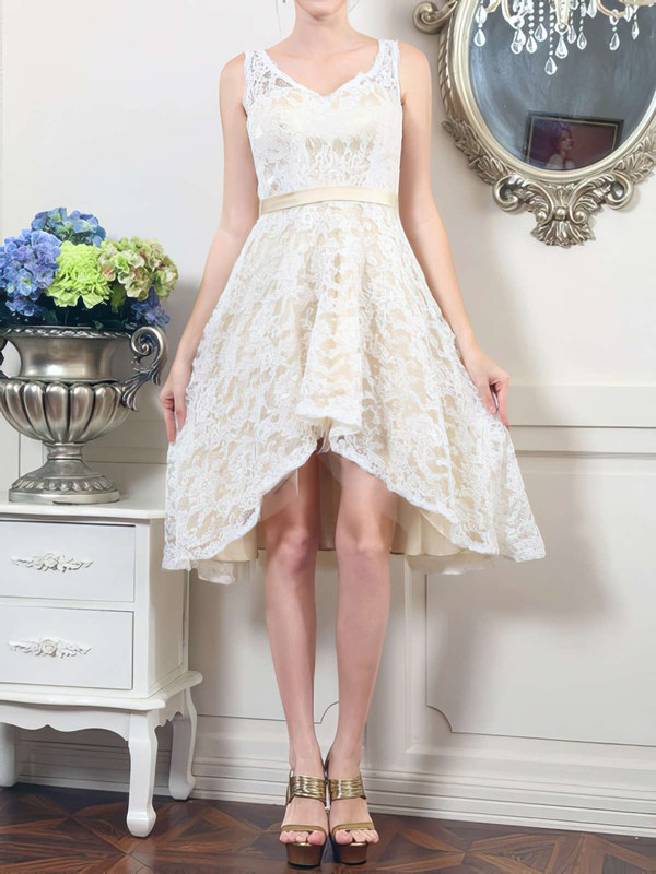 Asymmetrical Ivory Lace V-neck Sashes/Ribbons Cute High Low Wedding Dresses #PWD00020498