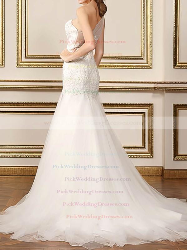 Elegant One Shoulder Tulle Appliques Lace Trumpet/Mermaid White Wedding Dresses #PWD00020500