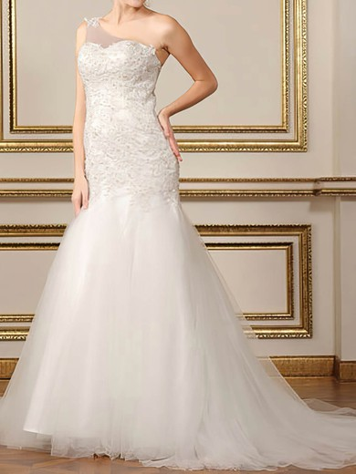 Elegant One Shoulder Tulle Appliques Lace Trumpet/Mermaid White Wedding Dresses #PWD00020500