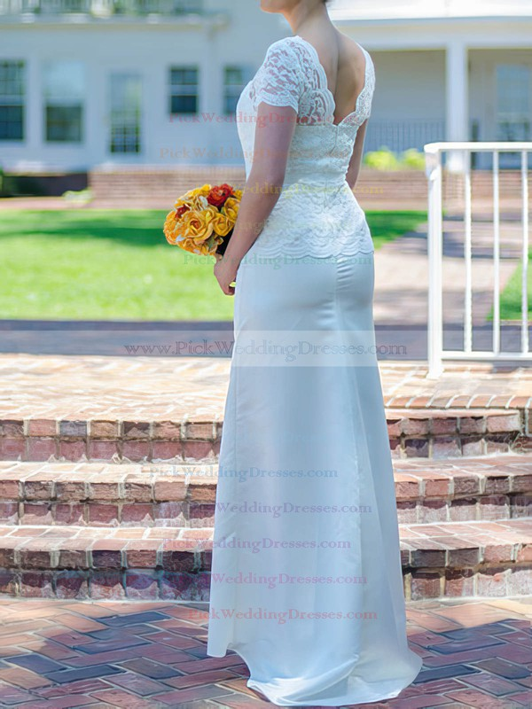 Promotion Scoop Neck White Silk-like Satin Trumpet/Mermaid Lace Short Sleeve Wedding Dresses #PWD00020502