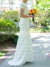 Promotion Scoop Neck White Silk-like Satin Trumpet/Mermaid Lace Short Sleeve Wedding Dresses #PWD00020502