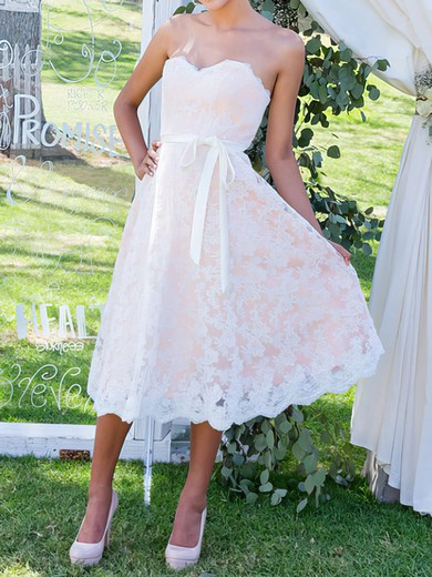 Tea-length Sweetheart with Sashes/Ribbons Latest Lace Wedding Dress #PWD00020503